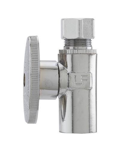 Brass Quarter Turn Straight Valve - Chrome - 1/2in Copper Sweat X 3/8in OD - Lead Free (KEE 2781PCLF 1/2X3/8 TURN VLV)