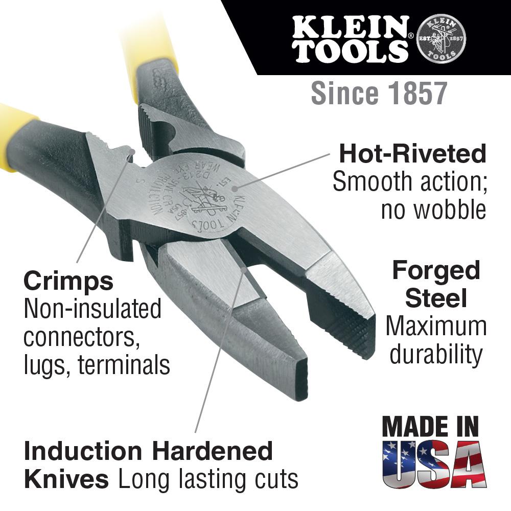 Klein Tools,D2000-9NECR,Heavy Duty Pliers, Cut/Crimp, 9