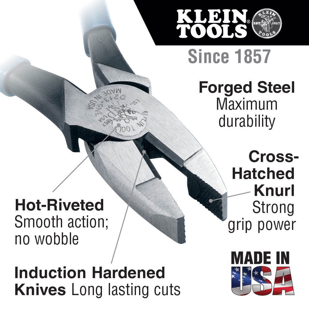 Klein Tools,HD213-9NE,High Lev. Pliers, HD Side Cut, 9