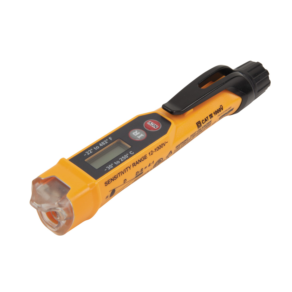 Non-Contact Voltage Tester Pen, 12-1000V, with Infrared Thermometer