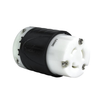 PASS & SEYMOUR 20 Amp NEMA Connector L520 - Black Back, White Front Body