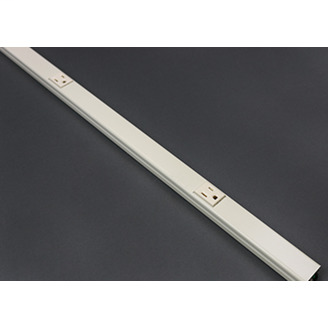 """Wiremold V20GBA612 72"""" 12"""" Center Distance Ivory Steel Single Raceway Multi-Outlet Strip"""