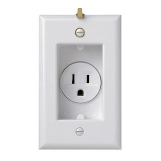 PASS & SEYMOUR Clock Hanger Receptacles, Recessed with Smooth Wall Plate, 15A, 125V, White
