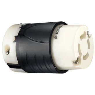 PASS & SEYMOUR 20 Amp NEMA Connector L1520 - Black Back, White Front Body