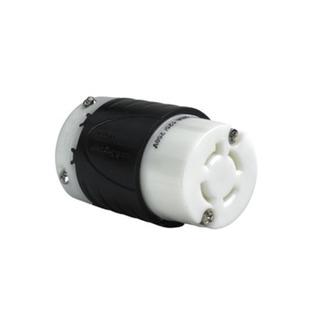 PASS & SEYMOUR 20 Amp NEMA Connector L1420 - Black Back, White Front Body