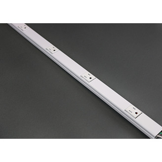 Wiremold WH20GB306TR 3 Foot x 1-9/32 x 3/4 Inch White Steel 1-Channel Raceway Tamper Resistant Multi-Outlet System