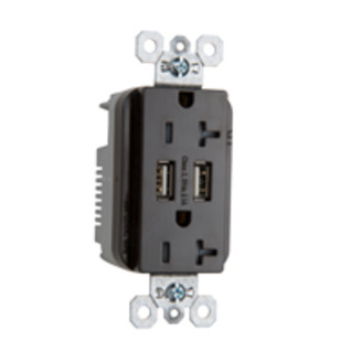 PASS & SEYMOUR Fed Spec Grade USB Charger w/ Tamper-Resistant 20A Duplex Receptacles, Black