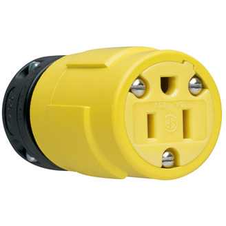 PASS & SEYMOUR 15A, 125V Rubber Dust-Tight Connector, Yellow