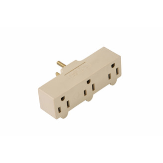 PASS & SEYMOUR 15A/125V Rubber Plug-in Adapter, 2 Pole, 3 Wire, Ivory