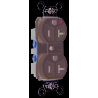 Hospital-Grade Tamper-Resistant Compact Design Receptacle, Back & Side Wire, 20A, 125V, Gray