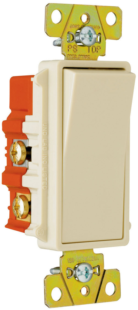 Pass & Seymour 2624-I 20 Amp 120/277 VAC 4-Way Ivory Polycarbonate Screw Mounting Rocker Decorator Switch