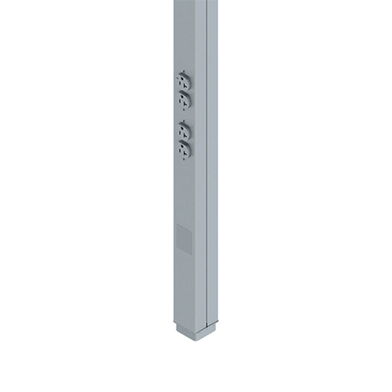 Wiremold 25DTP-4-DG 10 Foot 2 to 20 Amp Gray Duplex Tele Power Pole