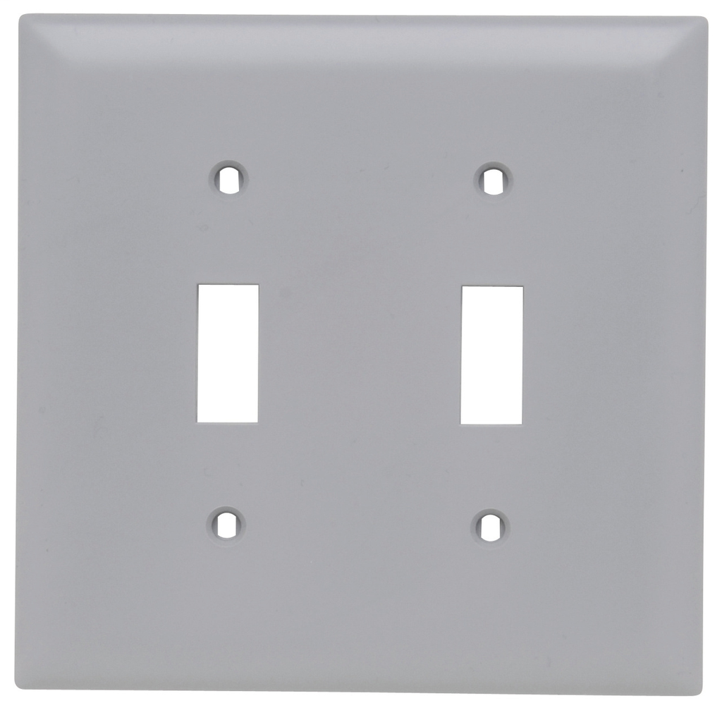 Pass & Seymour TP2-GRY 2-Gang 2-Toggle Switch Gray Nylon Standard Unbreakable Wallplate
