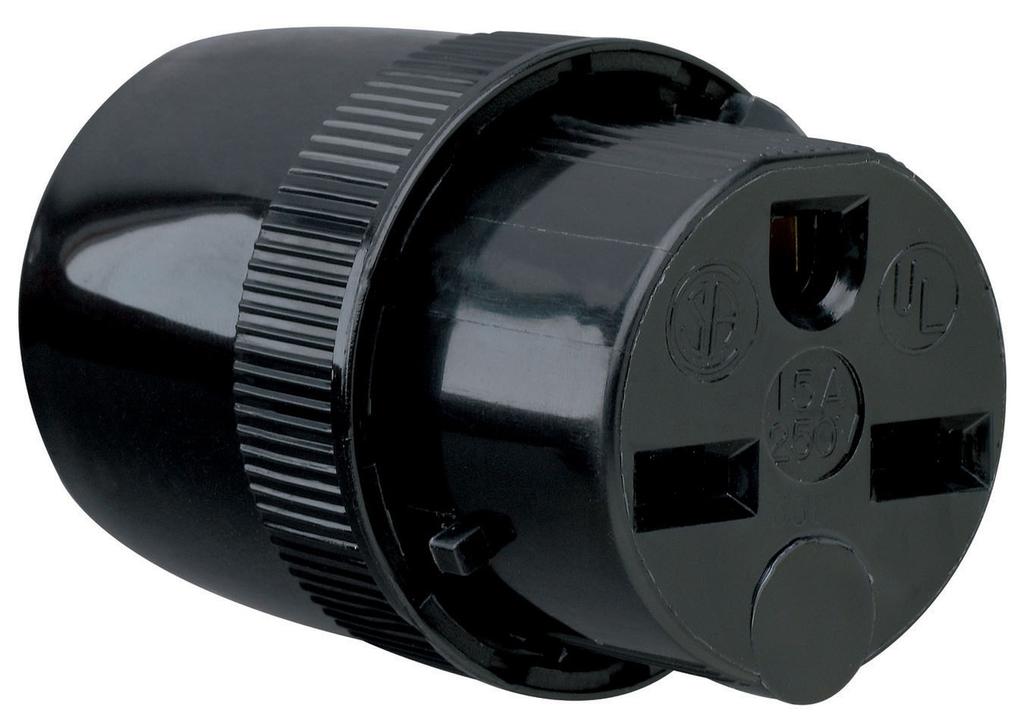 Pass & Seymour 5669BK 15 Amp 250 Volt 2-Pole 3-Wire NEMA 6-15R Black Nylon Straight Blade Medium Duty Dead Front Connector