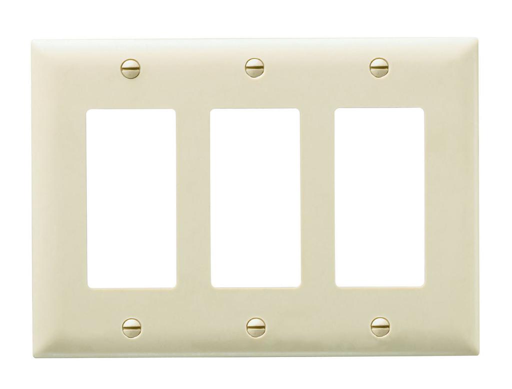 Wattstopper TP263-I 3-Gang 3-Decorator Ivory Nylon Standard Unbreakable Wallplate