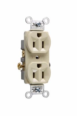 Pass & Seymour CR15-I 15 Amp 125 VAC 2-Pole 3-Wire NEMA 5-15R Ivory Nylon Face Corrosion-Resistant Duplex Receptacle