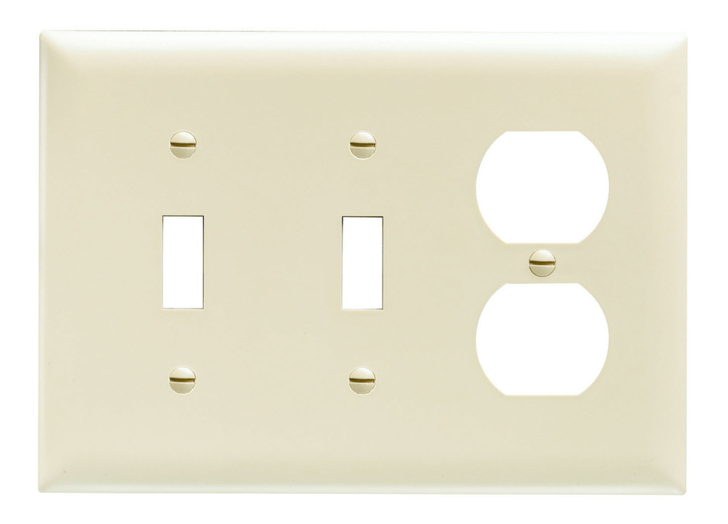 Pass & Seymour TP28-LA 3-Gang 2-Toggle Switch 1-Duplex Receptacle Light Almond Nylon Standard Combination Unbreakable Wallplate