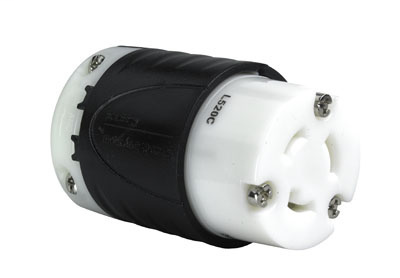 Pass & Seymour L520-C 20 Amp 125 VAC 2-Pole 3-Wire L5-20R Black and White Nylon Locking Connector