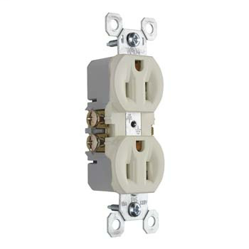 Pass & Seymour 3232-LA 15 Amp 125 VAC 2-Pole 3-Wire NEMA 5-15R Light Almond Thermoplastic Duplex Receptacle