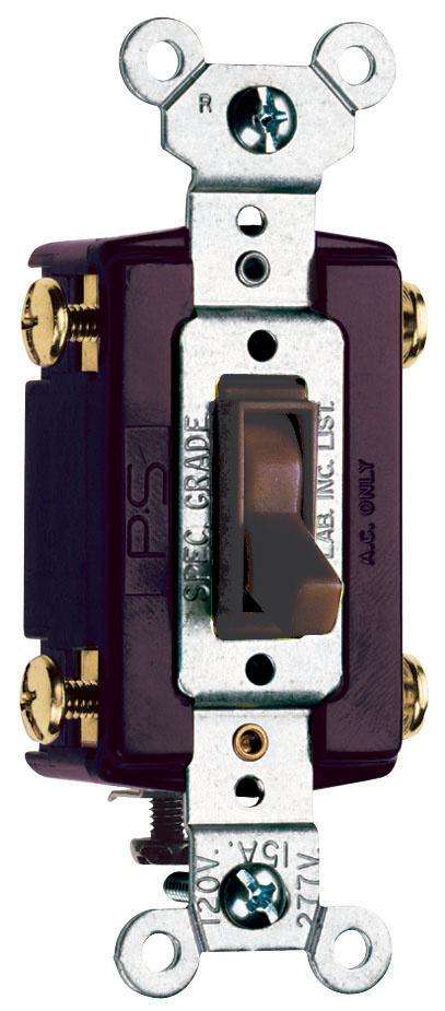 Pass & Seymour 664-G 15 Amp 120 VAC 4-Way Brown Thermoplastic Screw Mounting Grounding Toggle Switch