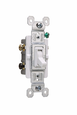 Pass & Seymour 663-WG 15 Amp 120 VAC 3-Way White Thermoplastic Screw Mounting Grounding Toggle Switch