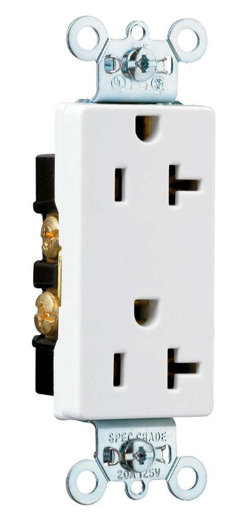 Pass & Seymour 26342-W 20 Amp 125 VAC 2-Pole 3-Wire NEMA 5-20R White Nylon Face Heavy Duty Duplex Decorator Receptacle