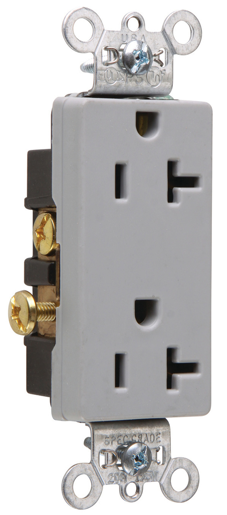 Pass & Seymour 26342-GRY 20 Amp 125 VAC 2-Pole 3-Wire NEMA 5-20R Gray Nylon Face Heavy Duty Duplex Decorator Receptacle