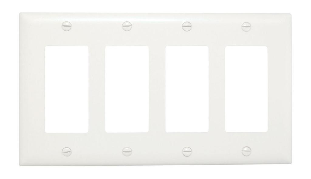 Wattstopper TP264-W 4-Gang 4-Decorator White Nylon Standard Unbreakable Wallplate