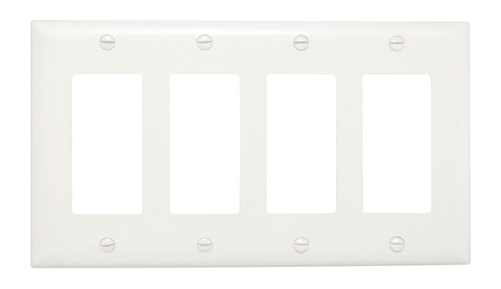 Pass & Seymour TP265-W 5-Gang 5-Decorator White Nylon Standard Unbreakable Wallplate