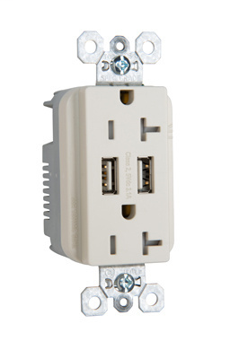 Mayer-Fed Spec Grade USB Charger w/ Tamper-Resistant 20A Duplex Receptacles, White-1