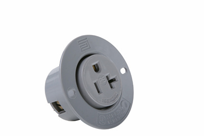 Pass & Seymour 5379SS 20 Amp 125 VAC 2-Pole 3-Wire NEMA 5-20R Gray Thermoplastic Straight Blade Flanged Outlet