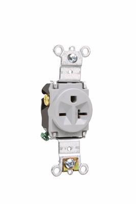 Pass & Seymour 5871-GRY 20 Amp 250 VAC 2-Pole 3-Wire NEMA 6-20R Gray Nylon Face Thermoplastic Back Body Single Receptacle