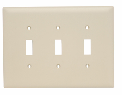 Pass & Seymour TPJ3-I 3-Gang 3-Toggle Switch Ivory Nylon Jumbo Unbreakable Wallplate