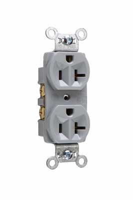 Pass & Seymour CR20-GRY 20 Amp 125 VAC 2-Pole 3-Wire NEMA 5-20R Gray Nylon Face Corrosion-Resistant Duplex Receptacle