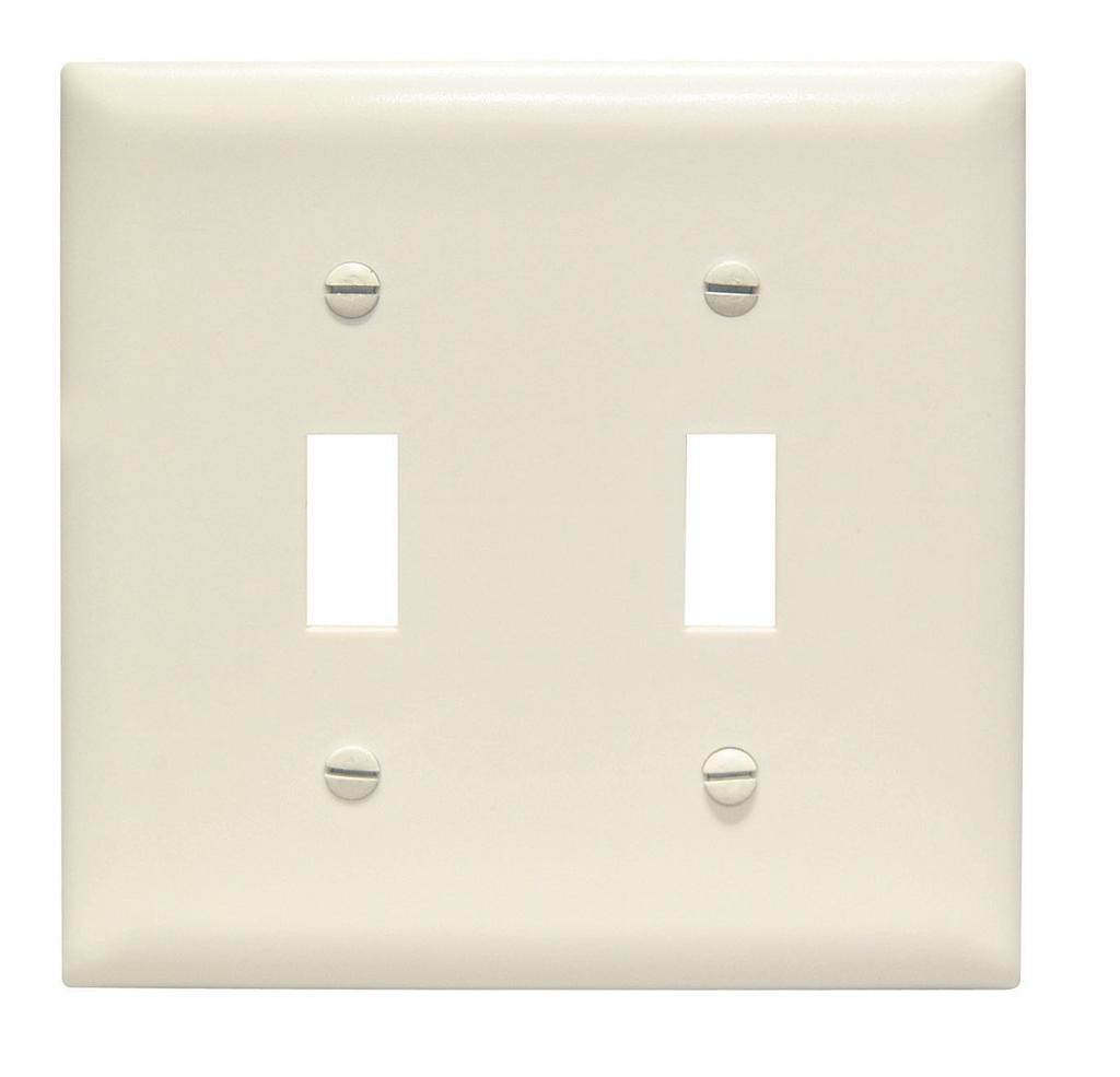 Pass & Seymour TP2-LA 2-Gang 2-Toggle Switch Light Almond Nylon Standard Unbreakable Wallplate