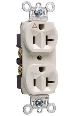 Pass & Seymour IG5362-LA 20 Amp 125 VAC 2-Pole 3-Wire NEMA 5-20R Light Almond Nylon Face Duplex Isolated Ground Receptacle