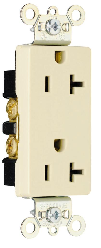 Pass & Seymour 26352-I 20 Amp 125 VAC 2-Pole 3-Wire NEMA 5-20R Ivory Nylon Face Heavy Duty Duplex Decorator Receptacle