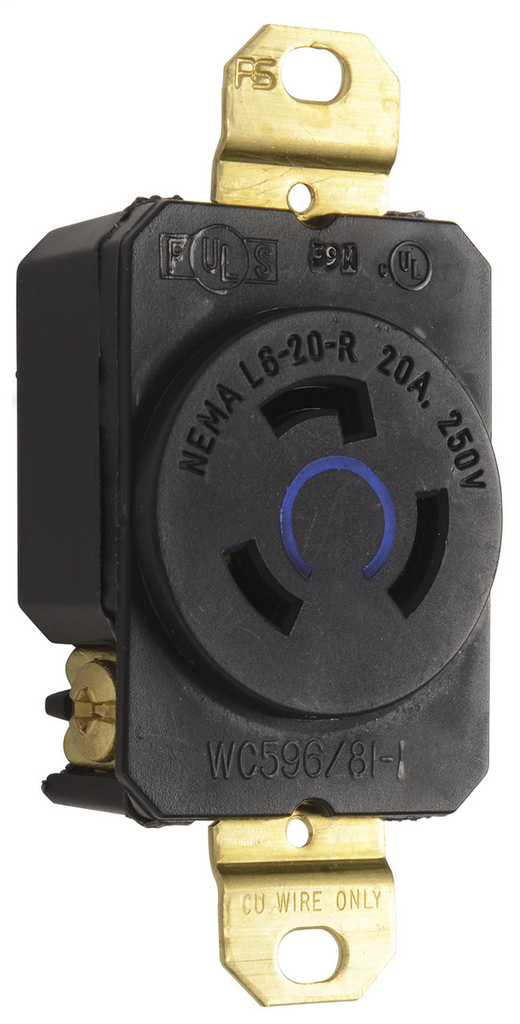 Pass & Seymour L620-R 20 Amp 250 VAC 2-Pole 3-Wire NEMA L6-20R Impact-Resistant Nylon Locking Single Receptacle
