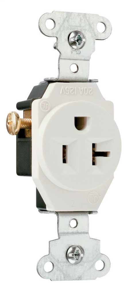 Pass & Seymour 5351-LA 20 Amp 125 VAC 2-Pole 3-Wire NEMA 5-20R Light Almond Single Receptacle