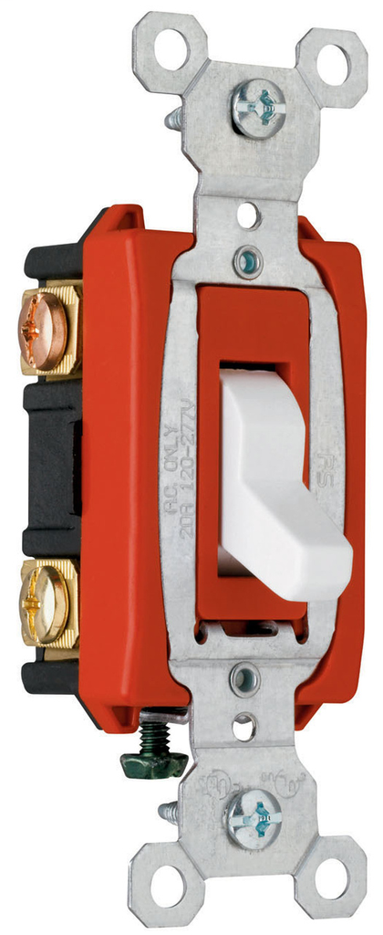 Pass & Seymour CSB20AC3-W 20 Amp 120/277 VAC 3-Way White Glass Reinforced Nylon Screw Mounting Toggle Switch