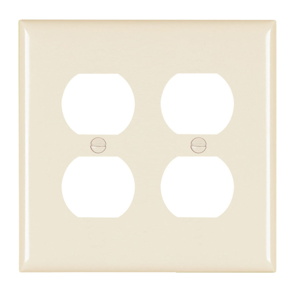 Pass & Seymour TP82-LA 2-Gang 2-Duplex Receptacle Light Almond Nylon Standard Unbreakable Wallplate