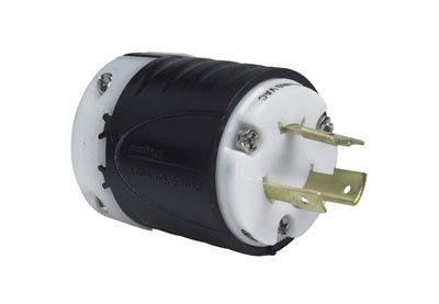 Pass & Seymour L820-P 20 Amp 480 VAC 2-Pole 3-Wire NEMA L8-20P Black and White Nylon Straight Locking Plug