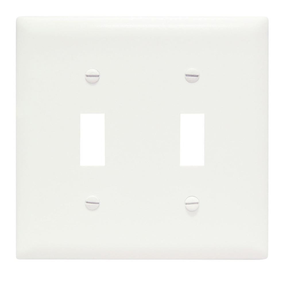 Pass & Seymour TP2-W 2-Gang 2-Toggle Switch White Nylon Standard Unbreakable Wallplate