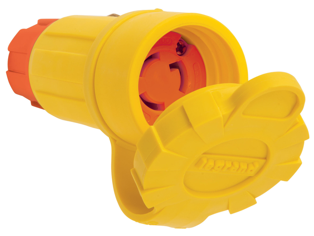 Pass & Seymour 25W47AM 15A 125V Locking Anti Microbial IP67 L5-15R Connector, Orange/Yellow