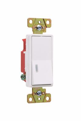 Pass & Seymour 2625-W 20 Amp 120 VAC 1-Pole White Polycarbonate Screw Mounting Illuminated Rocker Decorator Switch