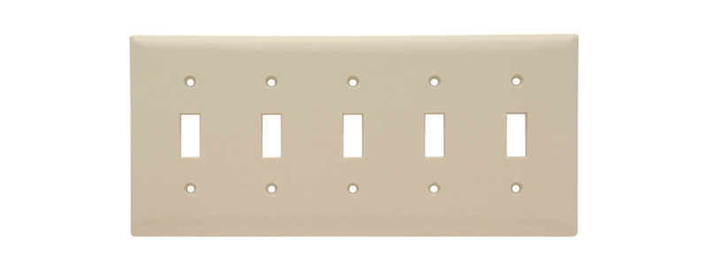 Pass & Seymour SP5-I 5-Gang 5-Toggle Ivory Smooth Thermoset Plastic Standard Wallplate
