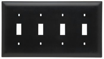 Pass & Seymour TP4-BK 4-Gang 4-Toggle Switch Black Nylon Standard Unbreakable Wallplate