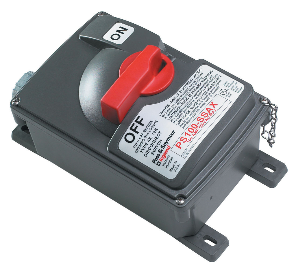 Pass & Seymour PS100-SSAX 600 VAC 100 Amp 50 HP 3-Phase NEMA 4X/12 Thermoplastic Non-Fusible Safety Switch