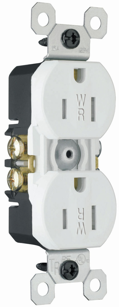 Mayer-15A/125V Weather-Resistant Duplex Receptacle, White-1