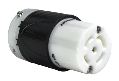 Pass & Seymour L2130-C 30 Amp 120/208 VAC Star 3-Phase 4-Pole 5-Wire L21-30R Black and White Nylon Locking Connector